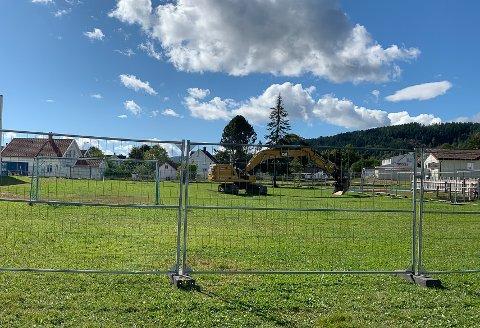 På denne gressletta mellom Tømmerås skole og Svelvik ungdomsskole begynner det å bli klart for bygging av skatepark.