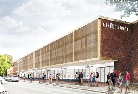 NY FASADE: Lietorvet får ny fasade ut mot Liegata. Slik ser utbyggeren for seg at senteret ser ut innen årets julesalg starter. Illustrasjon: AMB Arkitekter AS