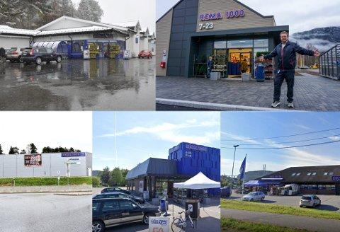 STØRST: Dette er de fem Rema-butikkene med størst omsetning i Telemark. Aller størst er omsetningen for butikken øverst til venstre. Det er Rema 1000 på Kalstad i Kragerø.