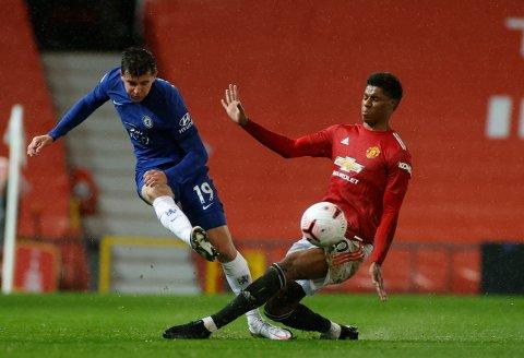 Marcus Rashford (t.h.) var nærmest scoring for Manchester United i 0-0-kampen mot Chelsea lørdag. Her er han i duell med Mason Mount.