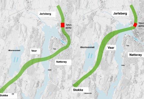 BEST: Nøtterøykorridoren (til venstre) er det beste alternativet, mener Truls G. Hansen.