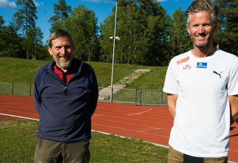 NY TRADISJON: Per Halle (t.v.) og Fredrik Vedvik gleder seg til å se de beste norske løperne i aksjon på friidrettsbanen i Greveskogen lørdag kveld. Stevnet kan du se direkte på tb.no.