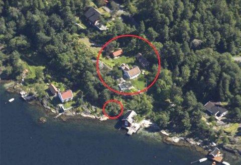 Ja eller nei? Sirklene viser dagens bebyggelse og hvor den planlagte båtbua er tenkt plassert. Eiendommen ligger på Kalven på Borøy. Søknaden behandles av politikerne kommende tirsdag.