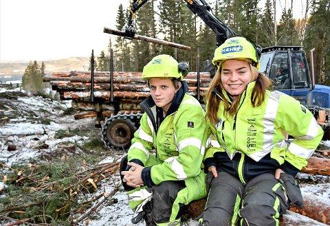 HER SKAL DET SKJE: 17-åringene Anja Lien og Hellik Kvear på plass i oppe i åsen, der veien til Vingen skal bygges. Foreløpig er det skogsmaskinene som regjerer grunnen.