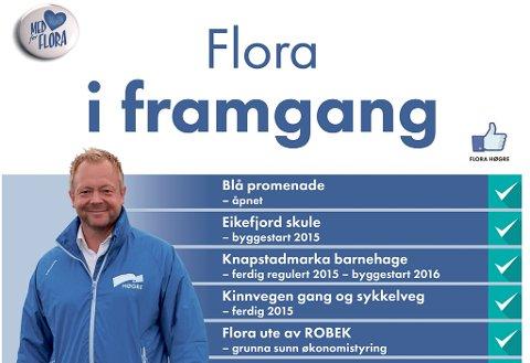 Ordførar Bengt Solheim-Olsen marknadsfører ting han meiner partiet har fått til på fire år.