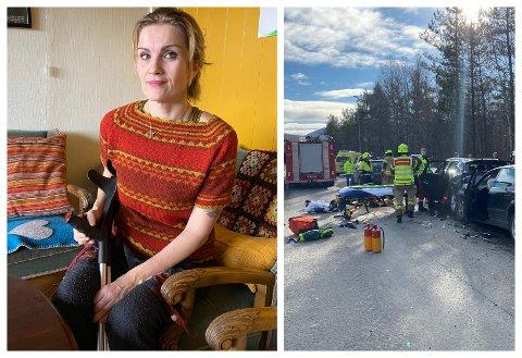 VONDE MINNER: Marita Egelandsdal Stalheim nytta krykker for å kunne bevega seg etter skadene ho fekk i den kraftige kjedekollisjonen. Her er naudetatane i ferd med å frigjera ho frå bilen.