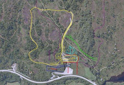 Den gule løypa er der dei no vil lage rulleskibane. Det lyseblå er det dei ser føre seg at blir standplass for skiskyting, medan den lilla linja viser dagens løypenett.