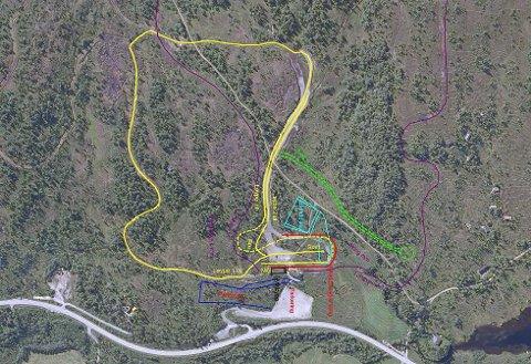 Den gule løypa viser kvar dei vil lage rulleskibane. Det lyseblå er det dei ser føre seg at blir standplass for skiskyting, medan den lilla linja viser dagens løypenett.