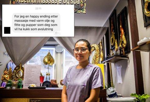 GROV: Daglig leder Nicky Phimphaengrak i Ruethai Massasje & Spa er mektig lei slibrige meldinger på Facebook fra menn. Innfelt bilde av den grove meldingen hun fikk i helgen.