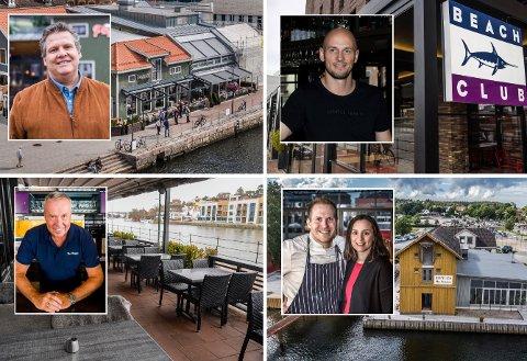 AVVENTER: Jan Bergmann Johansen, Mads Rask, Petter Eriksen og Ingeborg Nygaard avventer situasjonen om hvorvidt de skal åpne spisestedene i sentrum igjen.