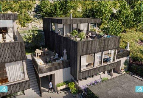 Eneboligene som Stolt Bolig vil legge ut for salg i Kodlidalen, går over to og en halv etasje og har takterrasse. Illustrasjon: Stolt Bolig/Fabel Media