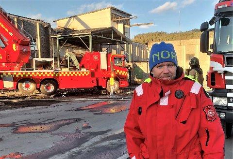 TRAVEL DAG: Innsatsleder Per Harald Bekken har hatt ledervakt for fire kommuner andre påskedag.