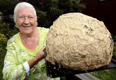 KJEMPESTORT: Karen Jensen fant dette gigantiske vepsebol på loftet i huset sitt på Lillehammer. Foto: Kari Utgaard