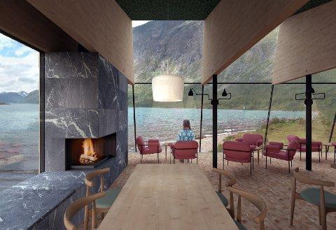 Det nye kafébygget får panoramautsikt utover Gjende. Det skal gi plass til cirka 40 gjester.