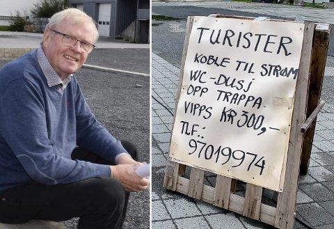 GA OPP: Kåre Bjertnæs ga etter for presset fra den lokale campingnæringen, og har nå fjernet plakatene som oppfordret turister med bobil eller campingvogn til å parkere.