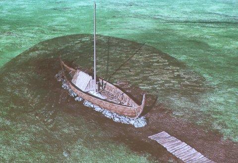 VIKINGSKIP: Funnet at et Vikingskip rett ved Jellhaug er sensasjonelt.