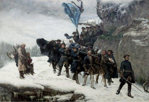GÖTEBORG: Originalutgaven av «Karl XII:s likfärd» ble malt i Paris i 1877-1878. Franske modeller fikk illudere kongens soldater, men bæreren med bandasje rundt hodet skal ha vært Gustaf Cederströms storebror Carl, og soldaten som går foran likfølget, er mistenkelig lik kunstneren selv. Maleriet henger i Göteborgs konstmuseum FOTO: MATTIAS BLOMGREN
