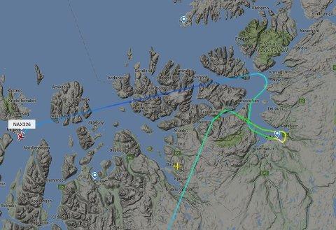 Skjermdump: Flightradar24