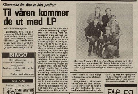 1980: Bandet Silverstone reiste land og strand rundt. Jostein var sentralt medlem sammen med Sigfred Iversen, Ivan Jonas, Sverre Heggeli og Roy Andersen. (Faksimile FD 11.06.1980)