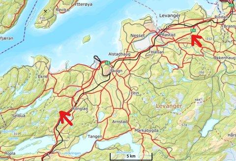 SIER NEI: Grunneiere sier nei, og da dropper kommunen begge forslagene på nye næringsareal (lokalisert ved røde piler).