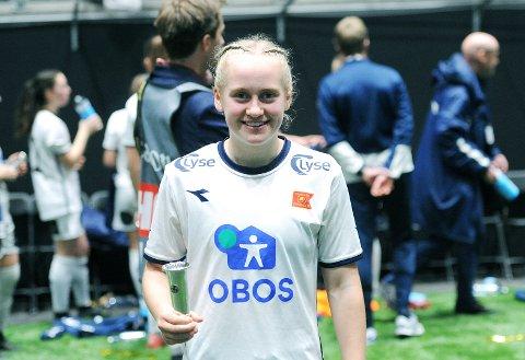 TIL KLEPP: Ingeborg Lye Skretting fotografert etter J16-cupfinalen i Telenor Arena for en måned siden. Kanskje blir det ny finale for henne neste november, som Klepp-spiller?