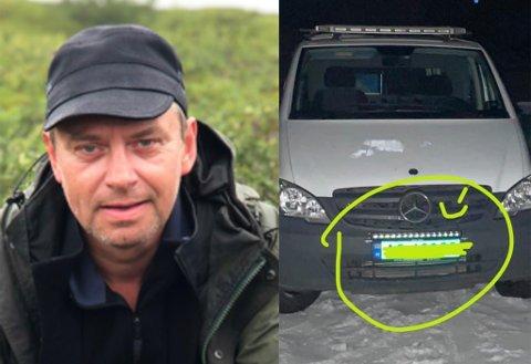 FRASTJÅLET: Torbjørn Leiros fikk frastjålet denne LED-lysplanken fra bilen sin natt til fredag.