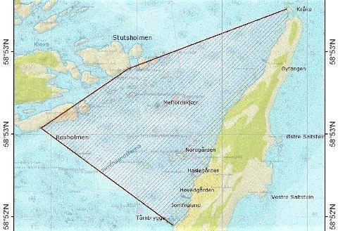 FREDET I FEM ÅR: Det markerte området er fredet for hummerfiske.