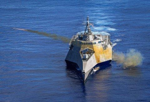 Her skytes NSM-missilet fra USS «Gabrielle Giffords» tirsdag.