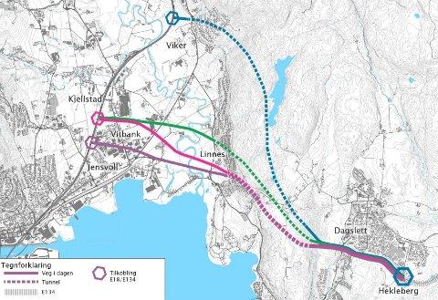 LANG STRID: Det har vært avholdt en rekke folkemøter om framføringen av E134 fra Dagslett til E18. Fortsatt er det uklart hvor veien skal gå. Asker-administrasjonen mener Viker er et godt alternativ.