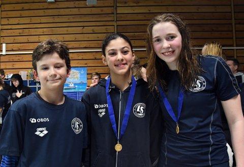 SAMMENLAGTVINNERE: Benjamin Toth (2007), Uljana Gorlova (2002) og Selma Lyamouri Flesche (2005) var best i sine klasser i helgen.