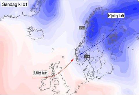 KALD VIND: Et lavtrykk over Vestlandet fører til kraftig vind i Nord-Norge. Samtidig som at temperaturen synker, vil den kraftige vinden føre til at det føles mye kaldere i nord.