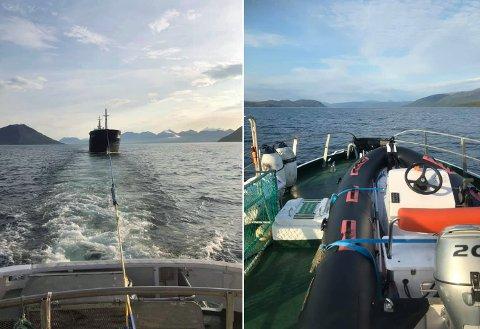 MÅTTE SLEPES: MS «Trine Charlotte» på slep etter redningsskøyta «Skomvær 3» i Grøtsundet onsdag morgen.