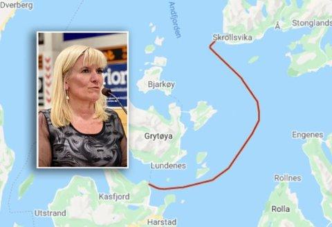 NESTE UT: Fergeforbindelse Senja-Harstad er neste samband ut, sier Harstad-ordfører Kari-Anne Opsahl. Foto: Google Maps / Lars Richard Olsen