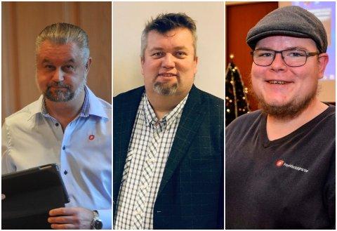 SMERTEGRENSE: Lokale Frp-ere mener partiet må vurdere videre regjeringssamarbeidet på grunn av bompengeopprøret. Fra venstre Svein Erik Sørensen, Øystein Andreassen og Tor Gaute Lien.