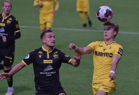 MÅLSCORER: Markus Karlsbakk i aksjon mot Start på Nammo stadion.