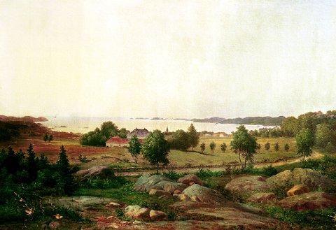 GAMLE KONGEVEI malt av Bernt Lund i 1881. Motivet er sett sørover mot eiendommene Øvre Nanset (t.v.) og Nedre Nanset, nåværende Bøkeskogen kultursenter (t.h.). Originalen eies av Øyvind Villum, Larvik.