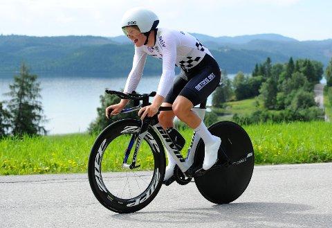 TIL TOPPS: Jon Rye-Johnsen syklet friskt da han gikk til topps i det første av to fellesstarter i forbindelse med norgescuprittene i helga.