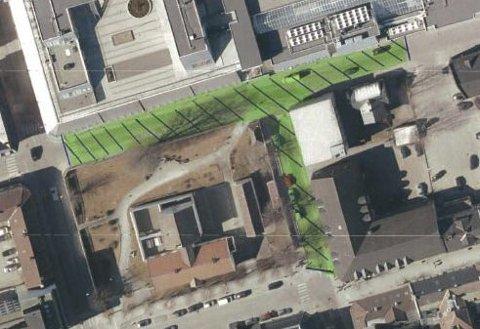 Det grønne området var tenkt gågate i en prøveperiode.