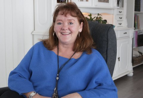 HJEMME: Linda Ludmann har hjemmekontor fra tid til annen og syns det er en fin ordning.