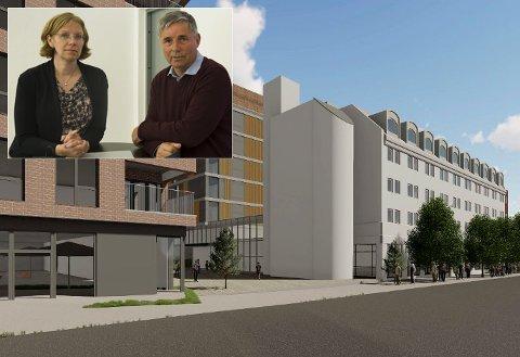 STORE PLANER: Ellen Grønlund og Haakon Tronrud ser store fordeler ved å knytte Scandic Hotell og Sentrumskvartalet sammen. Starten på glassgangen ser du i bakkant av det hvite trappebygget.