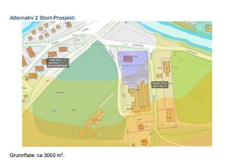 ALTERNATIV STOR HALL: Her vises hvordan hallen er tenkt plassert i forhold til Rjukanbadet. (illustrasjon fra Forstudien)      .