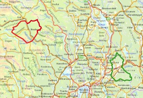DELER NAVN: Nes i Buskerud (rødt) har litt større areal, men Nes i Akershus (grønt) har mange flere innbyggere. (RB-grafikk)