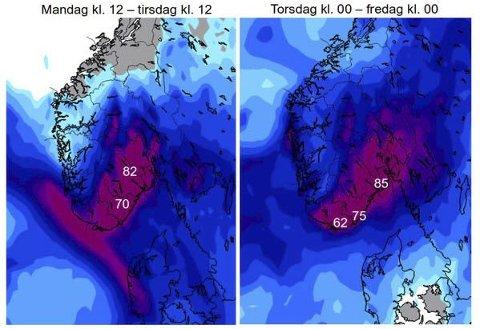 VÅT UKE: Rundt 40 mm nedbør traff Sandefjord natt til tirsdag og tirsdag formiddag. Torsdag er det ventet rundt 50 mm, før det skal roe seg. Foto: Meteorologisk institutt