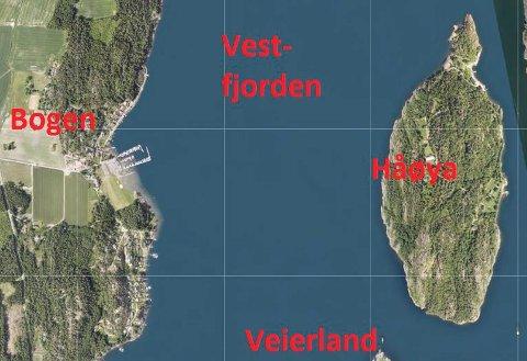 BOGEN: Kartet viser området der det både er sagt ja og nei til modernisering av brygger i strandsonen.