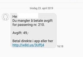 SMS: Slik ser svindel sms-en som Statens vegvesen, Autopass, bompengeselskapene og Datahjelperne nå advarer mot.