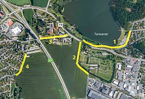 GANG- OG SYKKELVEIER: De gule strekene viser de nye gang- og sykkelveiene mellom Tunevannet og Grålum. Det var et enstemmig utvalg for plansaker som godkjente reguleringsplanene og 16. september vil trolig et enstemmig bystyre gjøre det samme.