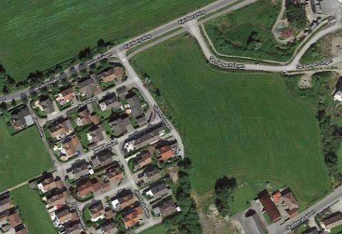 På denne marken planlegges det åtte blokker og tolv rekkehus.
