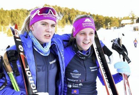 I VALLDAL: Hedda Aasbø (til venstre) og Stine Fiske gikk i midtnorsk mesterskap.
