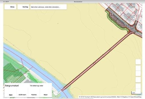 Her i krysset mellom Blomsterbakken og gangveien over til Elvetangen, foreslår rådhusbyråkratene å anlegge hente- og slippsone for elevene som skal gå på den nye barneskolen på Elvetangen.