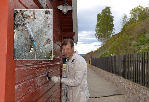 BEKYMRET: Fredrik Meltzer fant en brukt sprøyte på Flaskebekk brygge.